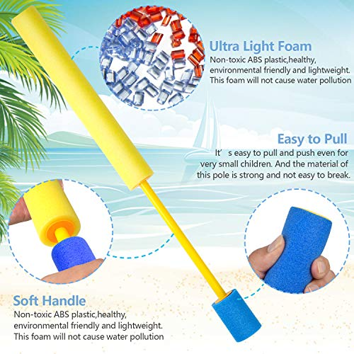 Kiztoys Foam Water Gun 6 Pack(45cm) Foam Gun for Water Hose Children\'s Adult Toys Pool Beach Paddock and Park Play Summer Party Foam Water Guns for Toddlers