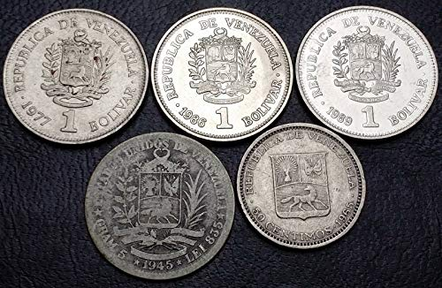 - Collection of 5X Venezuela Coins - Date Range: 1945 - 1989 - Including Silver