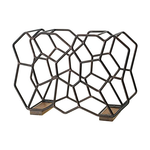 (Gourmet Basics by Mikasa 5228878 Ubix 12-Bottle Metal Stackable Wine Rack with Acacia Wood Accent, Large, Antique Black)