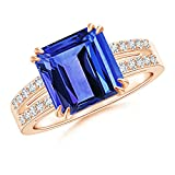 Holiday Offer - December Birthstone - Claw Set Emerald Cut Tanzanite Ring for Women with Diamond Accents in 14K Rose Gold (9mm Tanzanite)