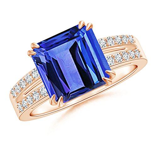 Holiday Offer - December Birthstone - Claw Set Emerald Cut Tanzanite Ring for Women with Diamond Accents in 14K Rose Gold (9mm Tanzanite) by Angara.com