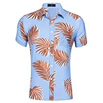 Mens Hawaiian Shirt Short Sleeve Button Down Casual Floral Beach Party Dress Shirt