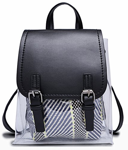 Women Fashion With Straw Crossbody Cute Plastic Stylish Bag Clear Backpack Mini PVC Black Backpack Small For wUUpqft