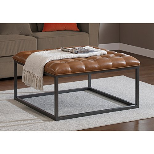 Rich Saddle Brown Leather Tufted Ottoman, Graphite grey scratch- and mar-resistant powder coat finish on the frame - Saddle Foam Leather