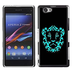 Be Good Phone Accessory // Dura Cáscara cubierta Protectora Caso Carcasa Funda de Protección para Sony Xperia Z1 Compact D5503 // Neon Lion Crest