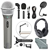 Samson Q2U Dynamic USB Microphone Podcasting Pack and Accessory Bundle with Boom Arm + Headphones + Pop Filter + Fibertique Cloth