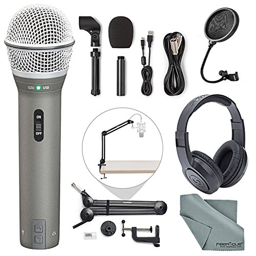 Samson Q2U Dynamic USB Microphone Podcasting Pack and Accessory Bundle with Boom Arm + Headphones + Pop Filter + Fibertique - Dynamic Vocal Samson Microphone
