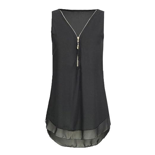 41ba0957a98377 Women s Tank Tops Loose Casual Chiffon Sleeveless Tank Top V-Neck Zipper T  Shirts Tops