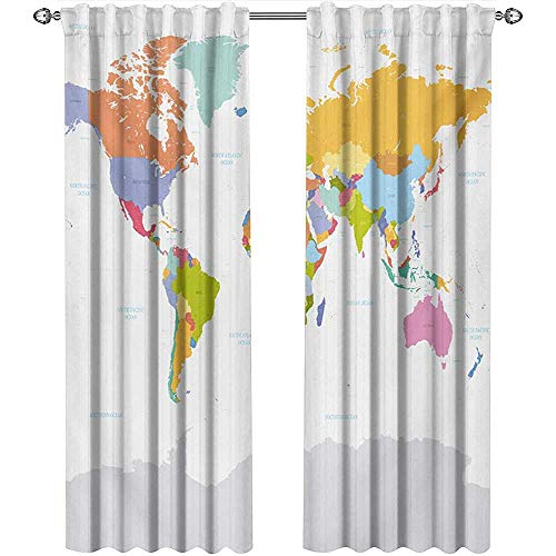 Map, Curtains Pattern, Highly Detailed Political Map of The World Global Positioning System Graphic Colorful, Curtains for Party Decoration, W72 x L108 Inch, Multicolor