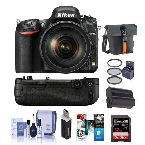 Nikon D750 FX-Format DSLR Camera with AF-S NIKKOR 24-120mm f/4G ED VR Lens - Bundle with 32GB SDHC, Camera Bag, 77mm Filter Kit, Nikon MB-D16 Battery Pack, Spare Battery, Software Package and More