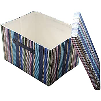 Genial TheWarmHome Large Fabric Storage Basket With Lid And Leather Handles For  Toys Organizer,Collapsible Shelf