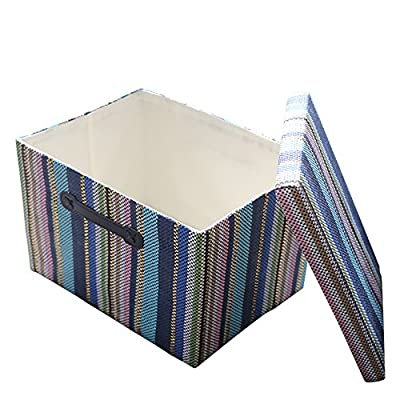 TheWarmHome Decorative Storage Box with Lid for Office Organizer|Decorative Storage Baskets Organizer Bins with Lids|Empty Gift Basket Toy Bin - PREMIUM QUALITY:This storage box with lid is made of durable fabric &Thicken Environmental cardboard,Durable and high quality material make this storage basket last a good long time.It is able to hold ton of stuffs and can last a lifetime.Lined with a thin muslin fabric.It is easy to clean,just wipe with a damp sponge or cloth STURDY ROPE HANDLE:The storage basket comes with two leather handles for easy access and for portability,leather handles for easy slide in and pull out of shelves or closet COLLAPSIBLE STORAGE BIN:Collapsible for easy storage if not in use,Simply fold the basket down flat for space-saving storage when not in use or when needing to transport - living-room-decor, living-room, baskets-storage - 51vTwEa1QuL. SS400  -