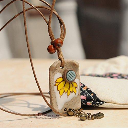 Stoneware national wind jewelry original literary Sen women girls minimalist ceramic necklace pendant accessories women long section sunflower ()