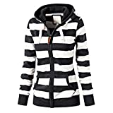 FUDITAI Women's Casual Lightweight Sweatshirts Long Sleeve Zipper Striped Hoodies(White and Black) L