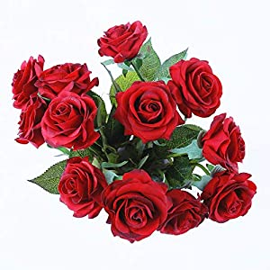 IPOPU Artificial Flowers, Silk Moisturizing Real Touch Rose Fake Flower with Green Leaves Wedding Bouquet for Home,Office, Party,Wedding Decoration and Festival Gift 12 Pcs 1