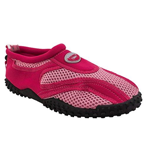 Das Wasser der Wellen-Frauen beschuht Pool-Strand-Aqua-Socken-Yoga-Übungs-Tendenzen SNJ 1185L / A Fuchsia Pink