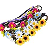 9 Pieces Flower Headband Garland - AWAYTR Bohemia Floral Crown for Women Girl Hair Accessories for...