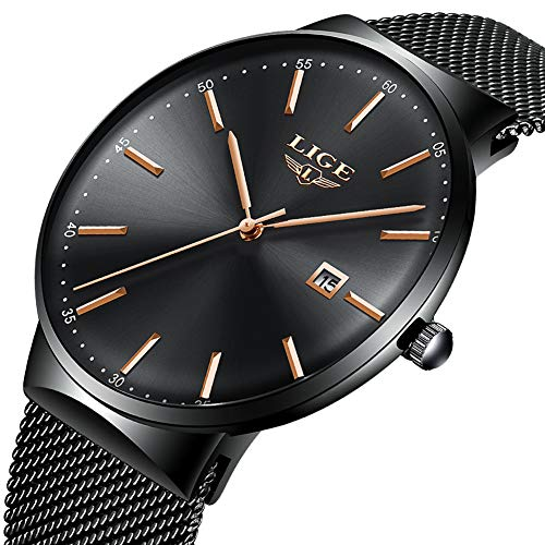Watch Men Fashion Waterproof Satinless Steel Business Men Watch Analog Quartz Wristwatch Luxury Brand LIGE Watch Black Dress Calendar Clock Mesh ()