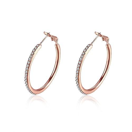 d031821312ea KOLOVEADA Cristales de Swarovski 18ct bañado en oro rosa Pendientes de aro  incluye joyas Fashion níquel