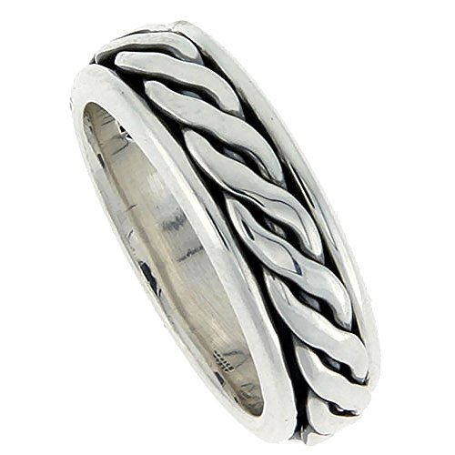 Sterling Silver Mens Spinner Ring Rope Design Handmade 5/16 wide, size 8 ()