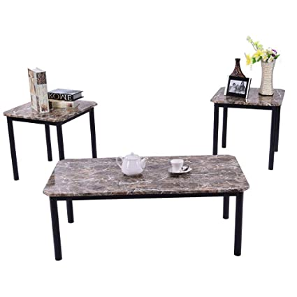 Terrific Amazon Com 3Pc Occasional Table Set Modern Faux Marble Caraccident5 Cool Chair Designs And Ideas Caraccident5Info