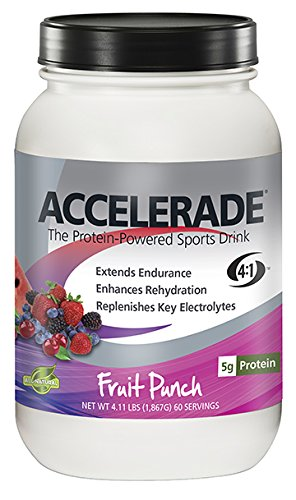 PacificHealth Accelerade, All Natural Sport Hydration Drink Mix with Protein, Carbs, and Electrolytes for Superior Energy Replenishment - Net Wt. 4.11 lb, 60 Serving (Fruit Punch)