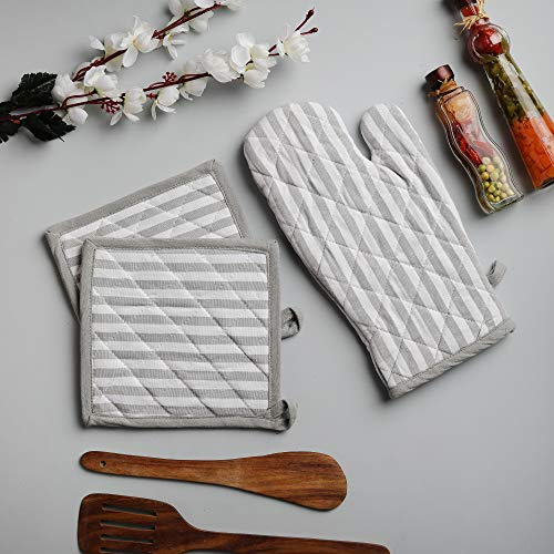 Cotton Oven Mitten and Pot Holders, 3 Piece Set, Grey & White Stripe For Everyday Use by DG Collection