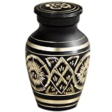 MEILINXU Funeral Keepsake Urn - Mini Cremation Urns Human Ashes Adult - Made in Brass Hand Engraved - Fits Small Amount Cremated Remains - Display Burial Urn at Home/Office (Rings Love, Baby Urn