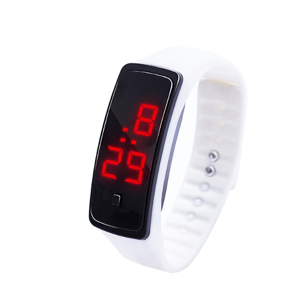 NRUTUP LED Digital Display Bracelet Watch Children's Students Silica Gel Sports Watch Hot Sales(White,Free Size)