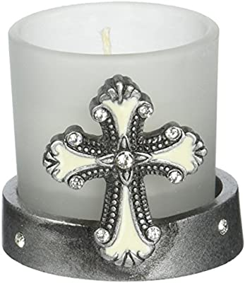 Cross Themed Clear Glass Round Globe Candle Holder Set of 2 FashionCraft