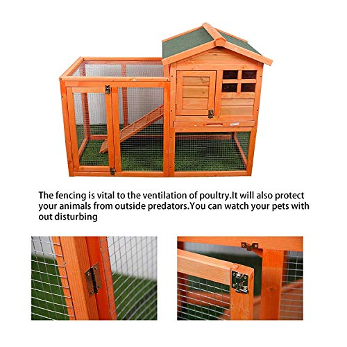 MIERES Wooden Pet House Rabbit Bunny Wood Hutch House Chicken Coops Rabbit Cage (Rabbit Hutch, Brown - Hutch Wooden Rabbit