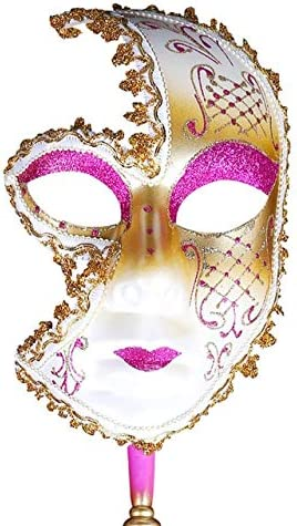 SUNNYBLUEE Máscara Veneciana de Mano Payaso Disfraz Fiesta de ...