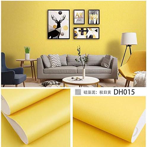 無地の自己接着防水耐油壁紙壁紙リビングルームの背景の壁の寮の寝室の壁のステッカー-40センチ幅* 6メートル_秋黄色