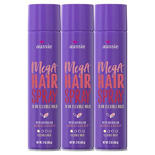 Aussie Flexible hold - aussie mega hold hairspray with jojoba & sea kelp, 17 oz (triple pack), 17 ()