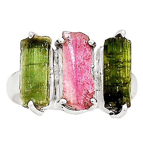 Xtremegems Pink Tourmaline & Green Tourmaline 925 Sterling Silver Ring Jewelry Size 9.5 13475R