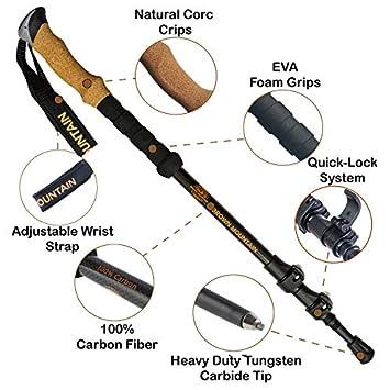 Trekking Poles for Men Women Full Kit – 100 Carbon Fiber Walking Sticks Lightweight Collapsible Adjustable – Shock-Absorbent – Comfortable Natural Cork Grips Mountaining Walking Poles for Hiking