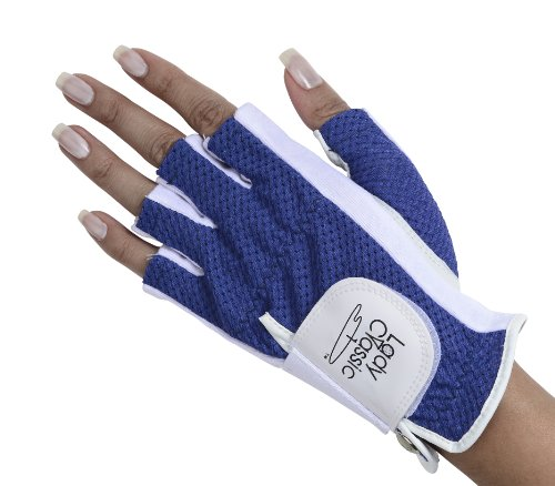 Lady Classic Half Glove (Left Hand), White and Royal Blue, Medium