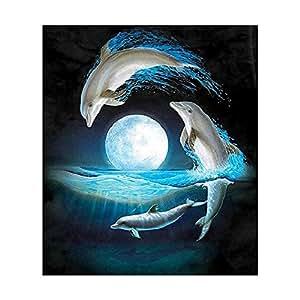 UEB Dolphin Painting Embroidery DIY 5D Diamond Cross Stitch Home Crafts Decor 30 X 34 cm