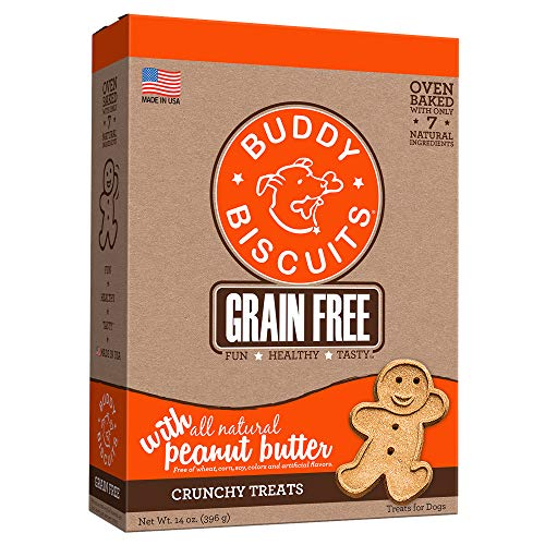 Cloud Star Grain Free Oven Baked Buddy Biscuits Dog Treats, All Natural Peanut Butter, 14-Ounce