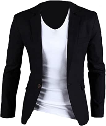 XQS Men's Casual One-Button Solid Modern-Fit Blazer Suit Jacket Black M