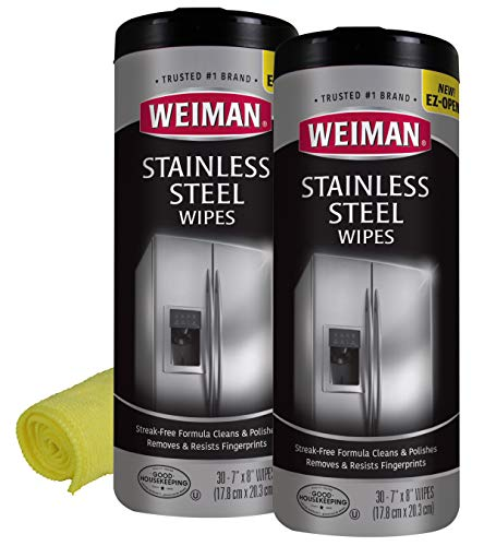 Weiman Stainless Steel Cleaner and Polish Wipes Bundle With Microfiber Cloth-Remover