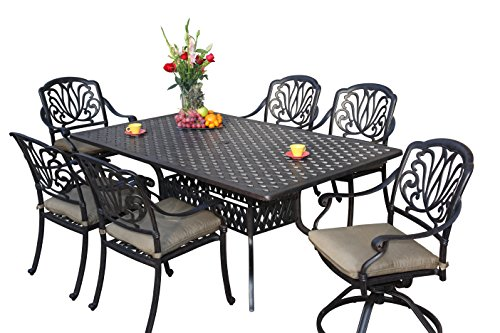 Darlee Elisabeth Cast Aluminum 7-Piece Dining Set with Seat Cushions and 42 by 72-Inch Rectangular Dining Table, Antique Bronze Finish