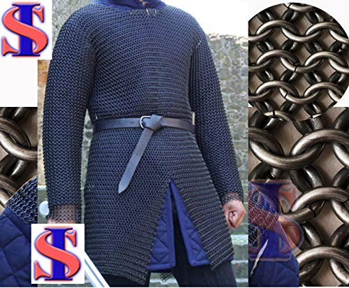 Souvenir India 10 mm Butted Chainmail Medieval Hauberk Full Sleeve Shirt Mild Steel Black, X-Large