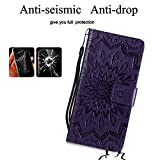 A-slim Moto G6 Play Case,Moto G6 Forge Case,Moto E5 Case,Wallet Case,PU Leather Case Sun Flower Pattern Embossed Purse with Kickstand Flip Cover Card Holders Hand Strap for Moto G6 Play Purple
