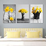 wall26 - Yellow Flowers in Vases - Canvas Art Wall Decor - 16'x24' x 3 Panels