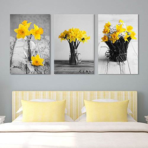 Yellow Flowers in Vases Wall Decor x 3 Panels