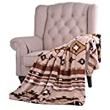D.I.D. 1 Piece 50x60 Tan Brown Southwest Native American Throw Blanket, Southwestern Sofa Bedding Indian Pattern Southwestern Rust Yellow White Tribal Aztec Western, Flannel Microfiber Polyester