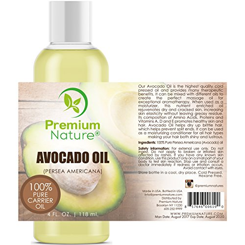 Avocado Oil Natural Carrier Oil - for Essential Oil Mixing, Massage Body Oil Moisturizer for Skin Hair & Nails, Pure Oil for Aromatherapy, Therapeutic Grade Anti Aging Skin Care 4 oz Premium Nature
