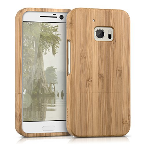 (kwmobile HTC 10 Bamboo Wood Case - Natural Solid Hard Wooden Protective Cover for HTC 10)