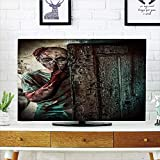 iPrint LCD TV Cover Lovely,Zombie Decor,Monster Behind The Door Looking with Evil Eyes Hell Nightmare Modern Print Decorative,Umber Teal Tan,Diversified Design Compatible 50'/52' TV